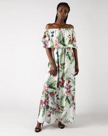 Gee Love It Bardot Maxi Dress Tropical White