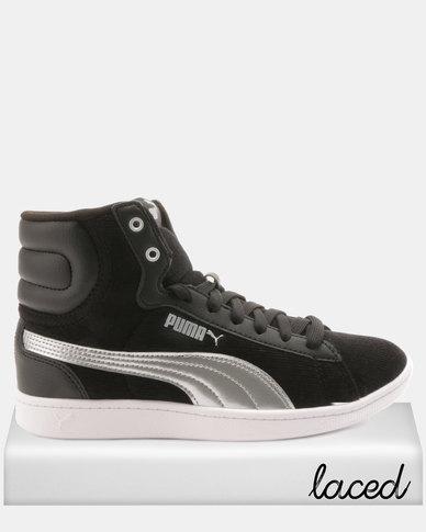 a37e9ff022908b Puma Sportstyle Core Vikky Mid Cord Sneakers Black Silver