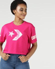 Converse All Star Mesh Easy Crop Tee Pink Pop