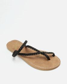 Lizzy Calinda Flip Flops Black Nappa PU