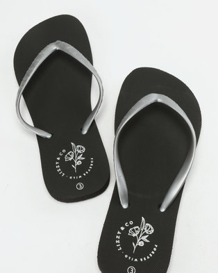 665bb82e3f02 Lizzy Vevina Flip Flops Silver Black