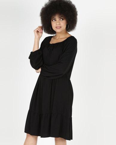 Utopia Viscose Twill Tunic Dress Black