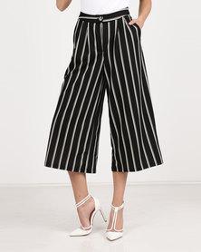 Utopia Stripe Cropped Wide Leg Pants Black/White