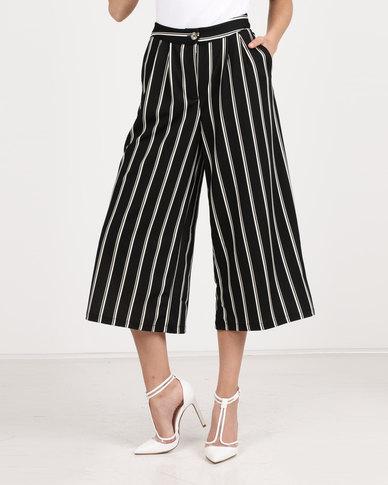 6064a867bf71 Utopia Stripe Cropped Wide Leg Pants Black/White | Zando