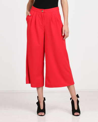 Utopia Cropped Wide Leg Pants Red