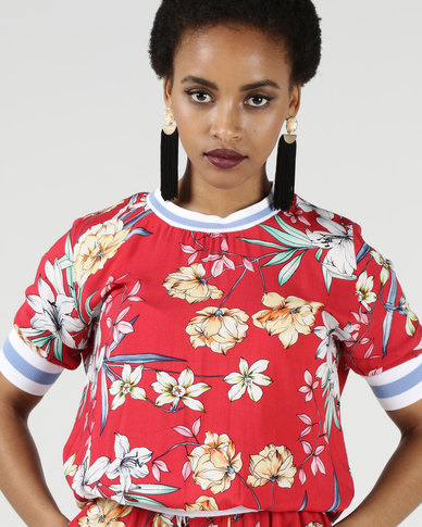 Utopia Print Top With Rib Trim Red Floral