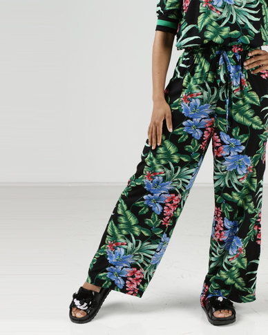 Utopia Print Wide Leg Pants Black Tropical