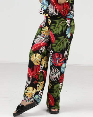 Utopia Tropical Print Wide Leg Pants Multi