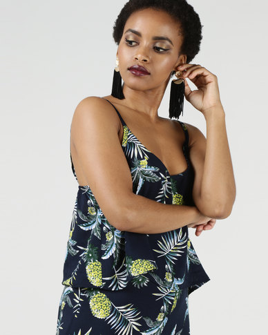 Utopia Pineapple Print Cami Navy