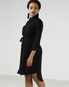 Utopia 3/4 Sleeve Shirt Dress With Tie Belt Black