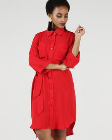Utopia 3/4 Sleeve Shirt Dress With Tie Belt Flamed Red