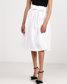 Utopia Cotton Sateen Flare Skirt White