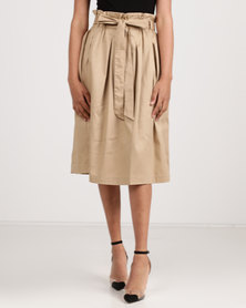 Utopia Cotton Sateen Flare Skirt Stone