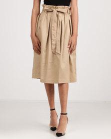 Utopia Cotton Sateen Flare Skirt Stone