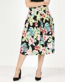 Utopia Tropical Print Bengaline Flare Skirt Black