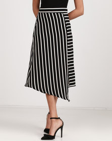 Utopia Stripe Asymmetrical Skirt Black/White