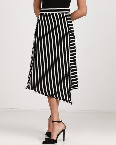 Utopia Stripe Asymmetrical Skirt Black/White