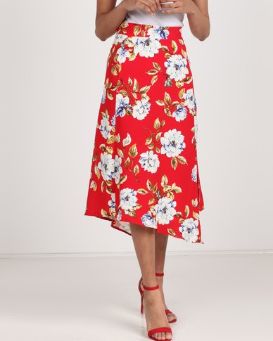 Utopia Floral Printed Asymmetrical Skirt Red