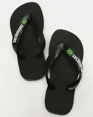 65f6cad9b Havaianas Kids Logo Flip Flops Black