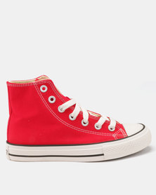 Soviet Viper Canvas Hi Cut Lace Up Sneakers Red/White