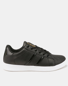 Soviet Star Gaze Low Cut PU Sneakers with Shell Toe Black