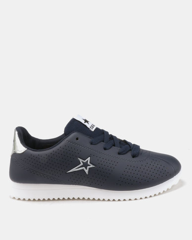 Soviet Beverly Pin Punched PU Jogger Sneakers Navy