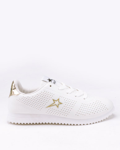 b101337961a9 Soviet Beverly Pin Punched PU Jogger Sneakers White