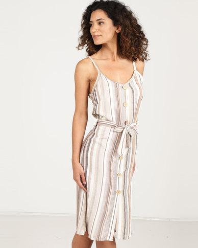 N'Joy Striped button dress Neutral