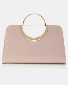 Forever New Lottie D-Ring Clutch Rose Shimmer