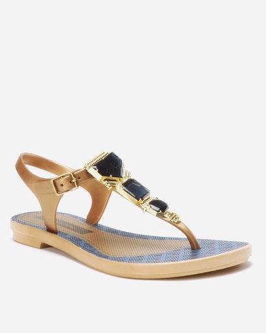 46ebcd67dd39 Grendha Jewel Sandals Beige Blue