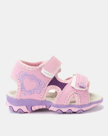 Candy Velcro Detail Sandals Pink/Purple