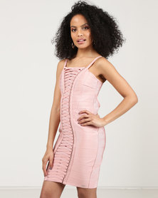 Sissy Boy Lace Up Detail Bandage Dress Dusty Pink