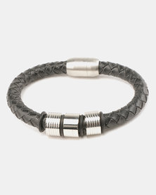 Xcalibur PU Braided Bracelet Silver-tone