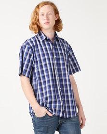 Jeep Short Sleeve Check Shirt White/Royal