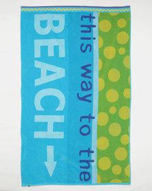 Colibri Towelling Gardenia Beach Towel Blue
