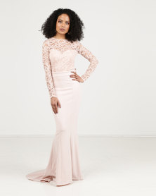 Sissy Boy Lace Detail Maxi Dress Nude
