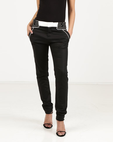 Utopia Trousers With Waistband Detail Black