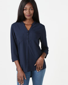Utopia Oasis Blouse Navy