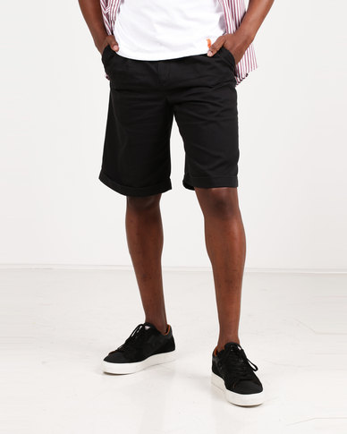 Utopia 100% Cotton Chino Shorts Black
