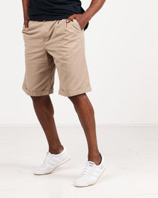 Utopia 100% Cotton Chino Shorts Khaki