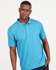 Utopia 175g Pique Polo Tee Surf Blue