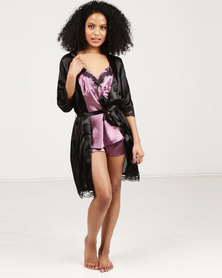 Royal T Lace Trim Robe Black