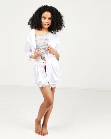 Royal T Lace Trim Robe White