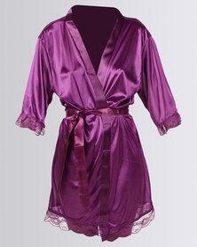 Royal T Lace Trim Robe Purple