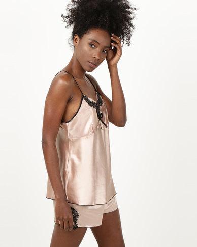 Royal T Lace Trim Cami & Shorts PJ Set Gold