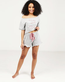 Royal T Rise & Grind Print Short PJ Set Grey