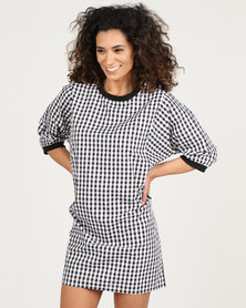 Royal T Checkered Shirt Dress Black/White