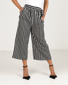 Royal T High Waisted Stripe Cullotes Black/White