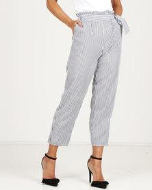 Royal T Stripe Paper Bag Tie Trousers Grey/White