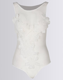 Royal T Embroidered Mesh Bodysuit White